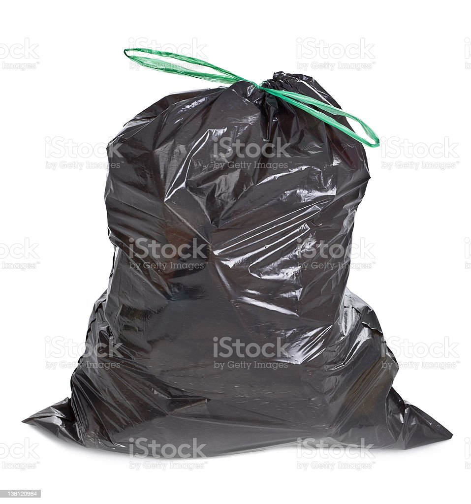 tied garbage bag stock photo