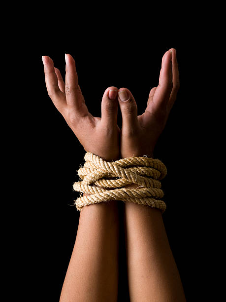 tied hands - tangled stock photos and pictures