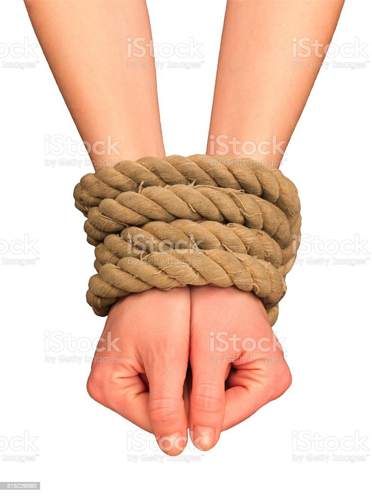Tied hands stock photo
