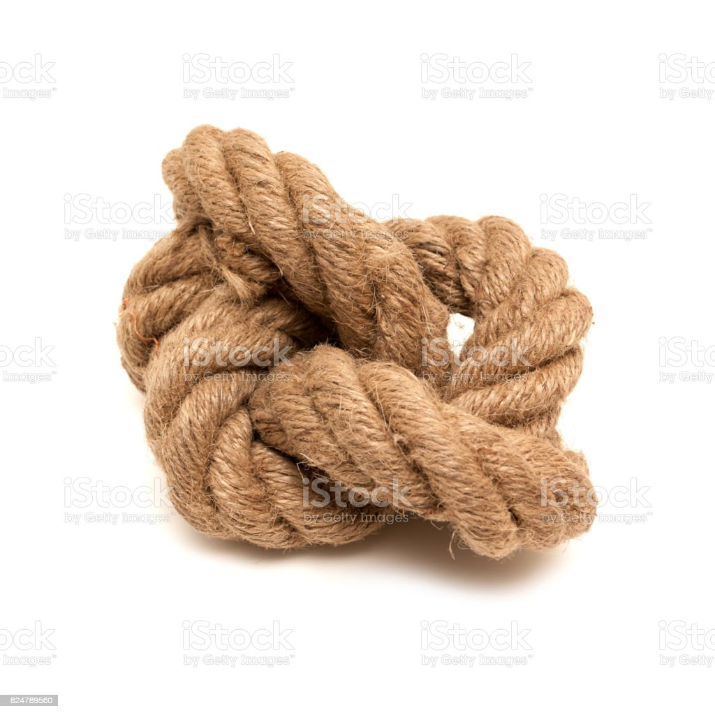 Tied Knot isolated on white background stock photo