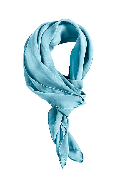 Tied neckerchief isolated Blue silk tied neckerchief on white background headscarf stock pictures, royalty-free photos & images