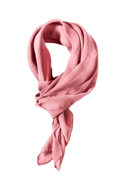 Tied neckerchief isolated Pink silk tied neckerchief isolated over white headscarf stock pictures, royalty-free photos & images