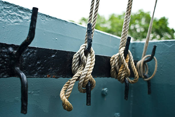 Tied rope on a ship stock photo