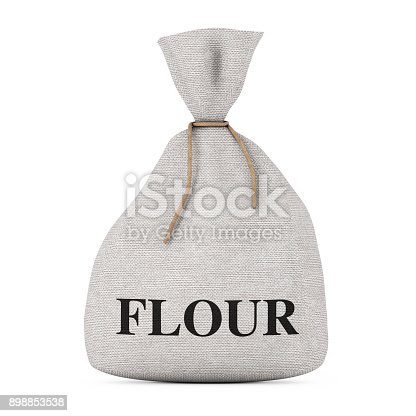 912671588istockphoto Tied Rustic Canvas Linen Sack or Bag with Flour Sign. 3d Rendering 898853538