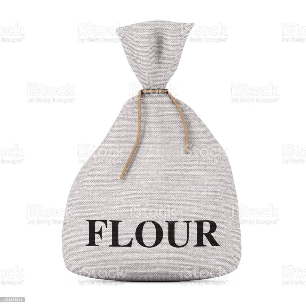 Tied Rustic Canvas Linen Sack or Bag with Flour Sign. 3d Rendering stock photo