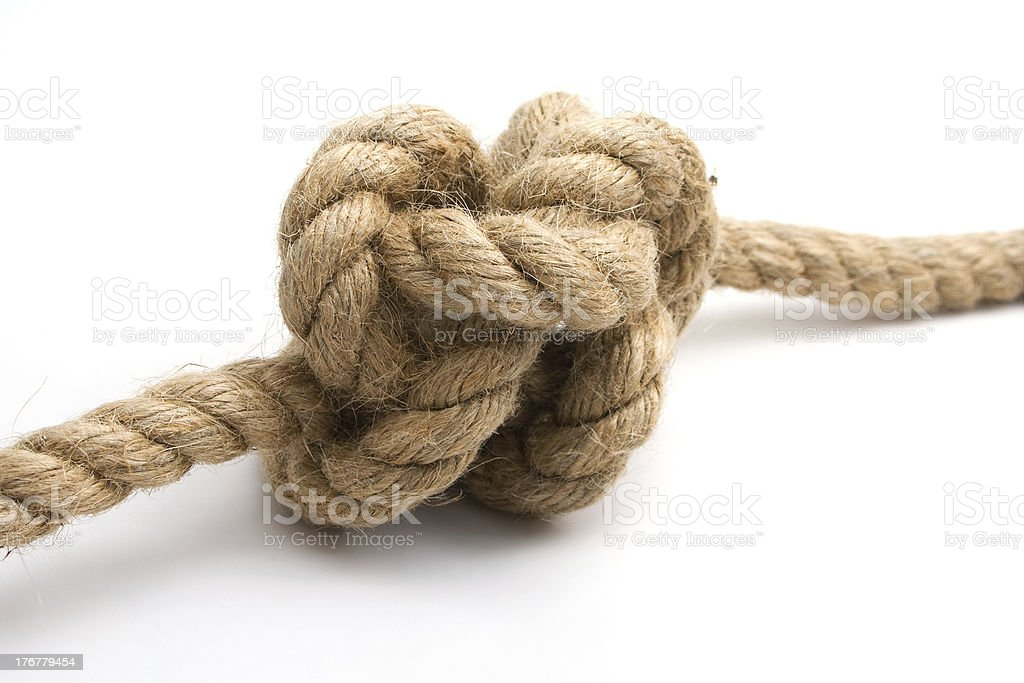 Tied up rope knot isolated on a white background royalty-free stock photo