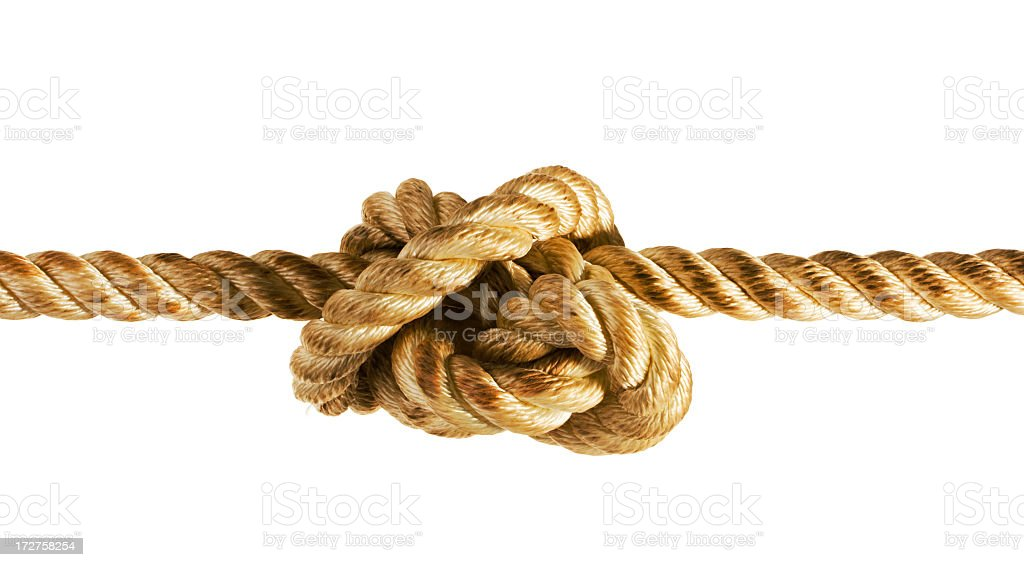 Tied Up Stress Knot of Rope or String, Pulled Tight stock photo
