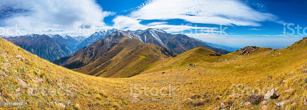 Tien Shan mountain valley landscape. stock photo