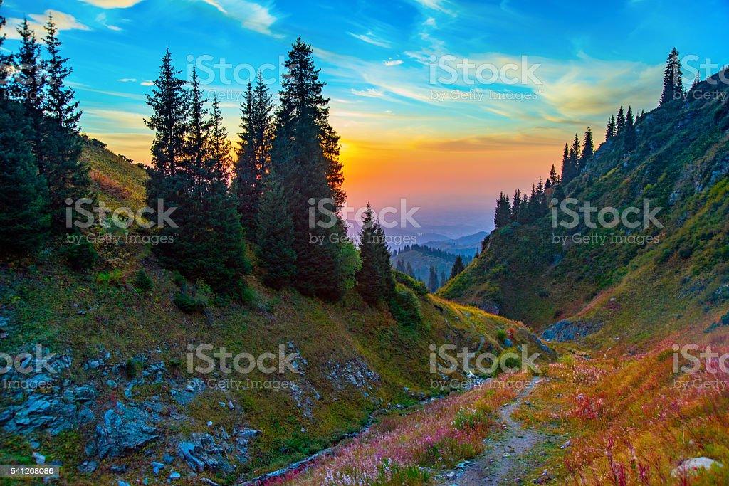 Tien Shan mountain valley sunset. stock photo