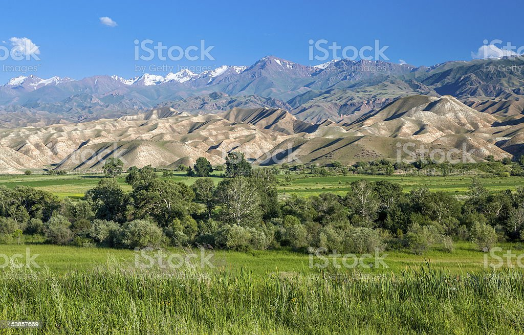 Tien Shan mountains and valley stock photo