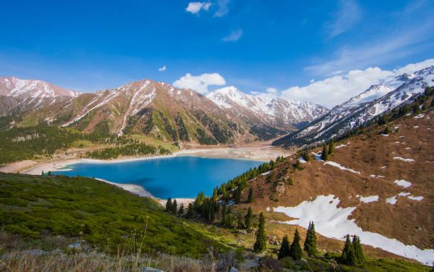 Tien Shan mountains, mountain lake, peaks, Big Almaty Lake, Kazakhstan stock photo