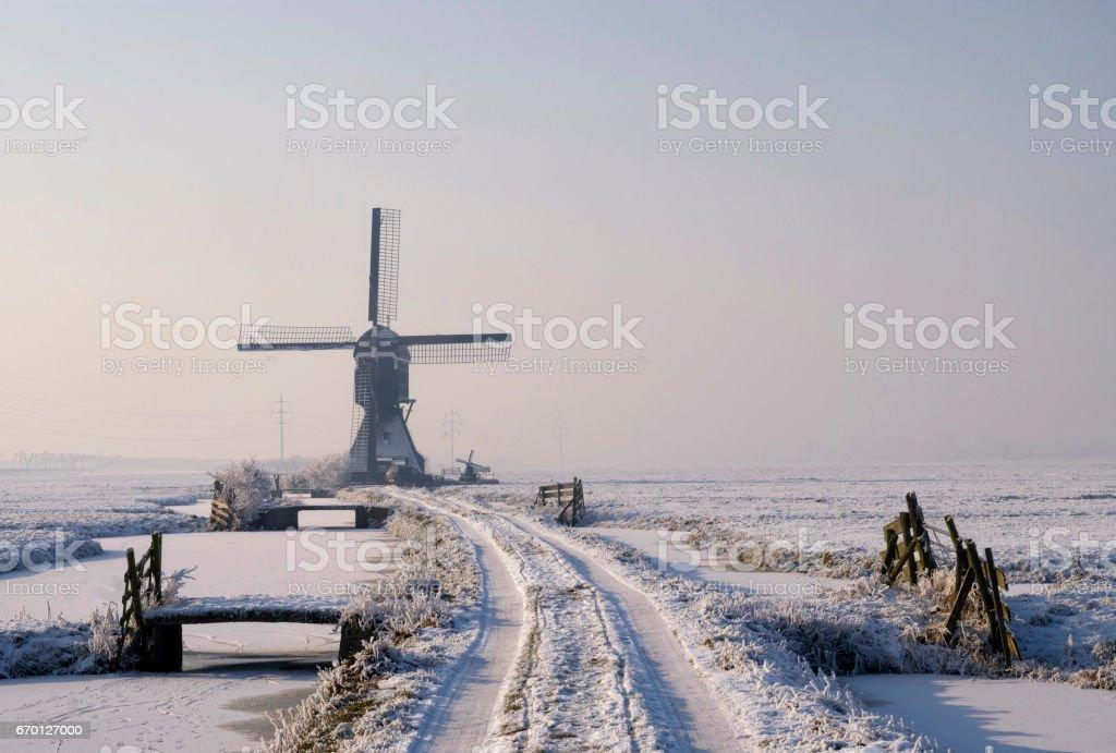 Tiendwegse mill in winter stock photo