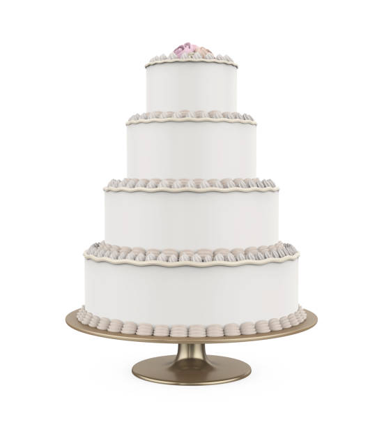 tiered cakes isolated - big cake stock photos and pictures