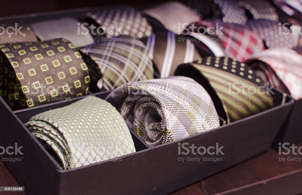 Ties in a man fashion store. stock photo