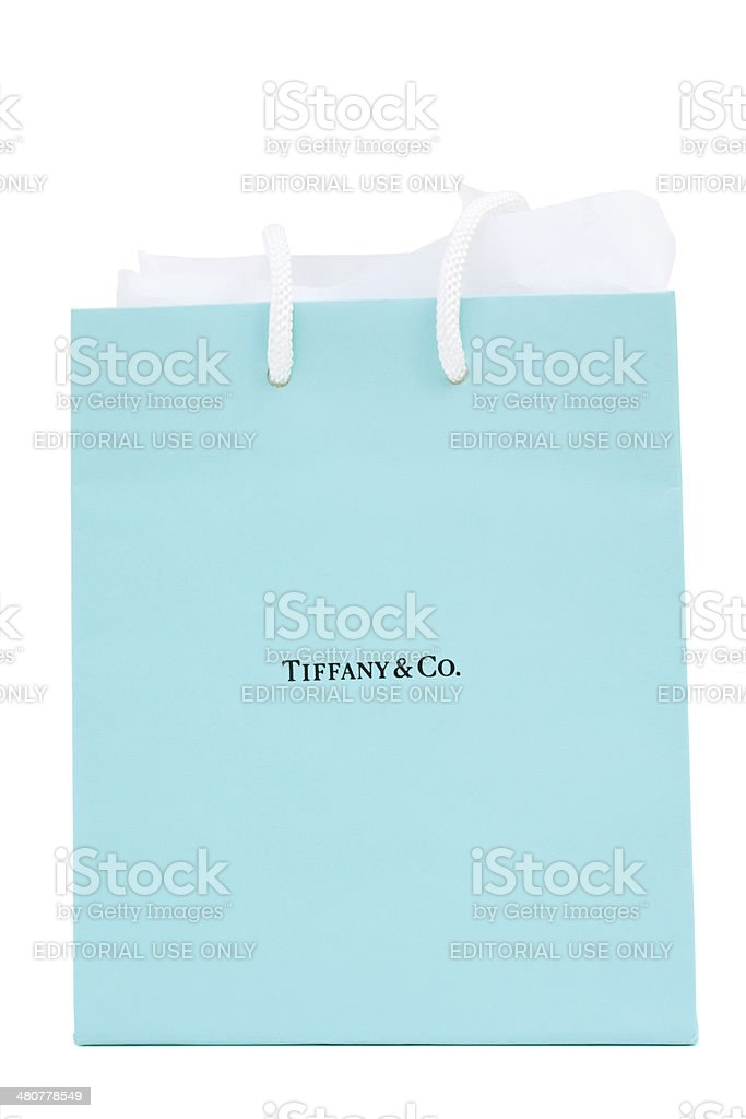 Tiffany and Co. gift bag stock photo