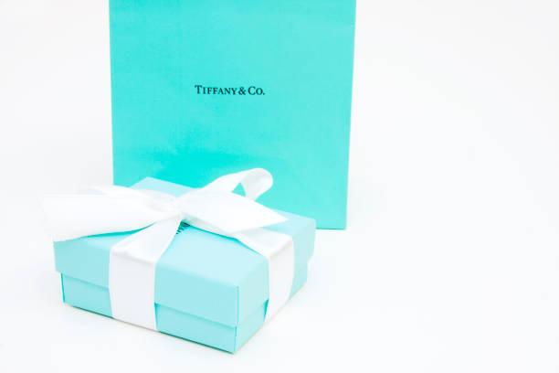 Tiffany and Co. gift box stock photo