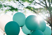 Tiffany blue color balloons decoration with outdoor sunshine