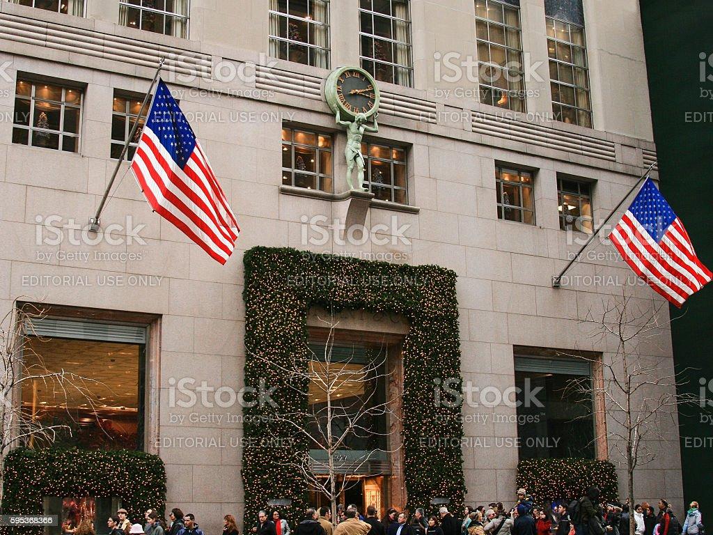 Tiffany & Co 5th Avenue Store at Christmas, New York. stock photo