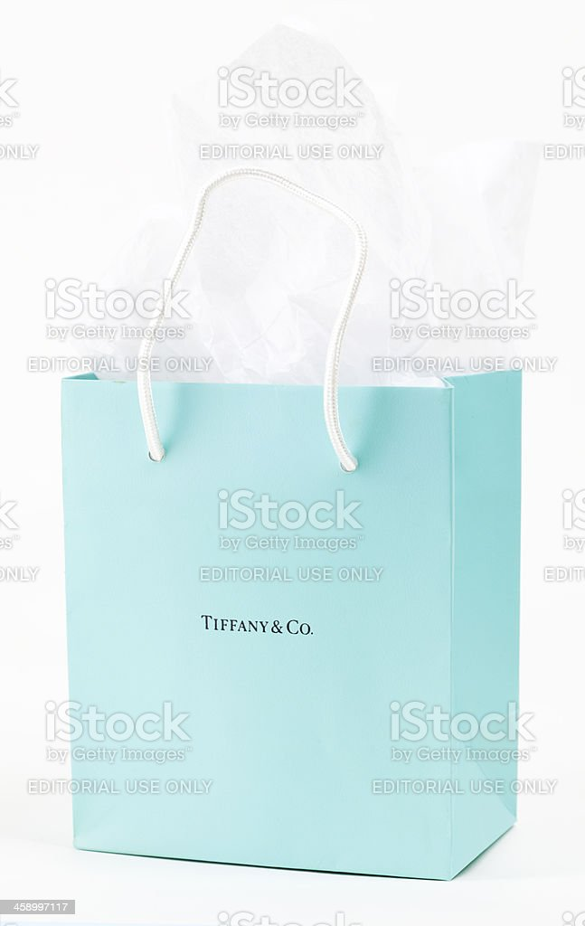 Tiffany & Co. Gift Bag stock photo