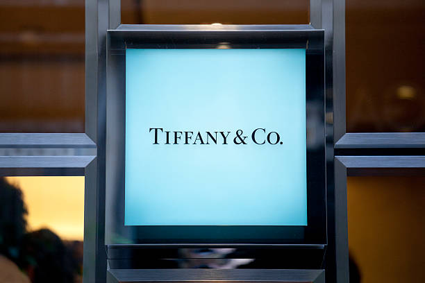 Tiffany & Co sign Milan, Italy - September 27, 2011: Tiffany & Co. is an American jewelry and silverware company. status symbol stock pictures, royalty-free photos & images