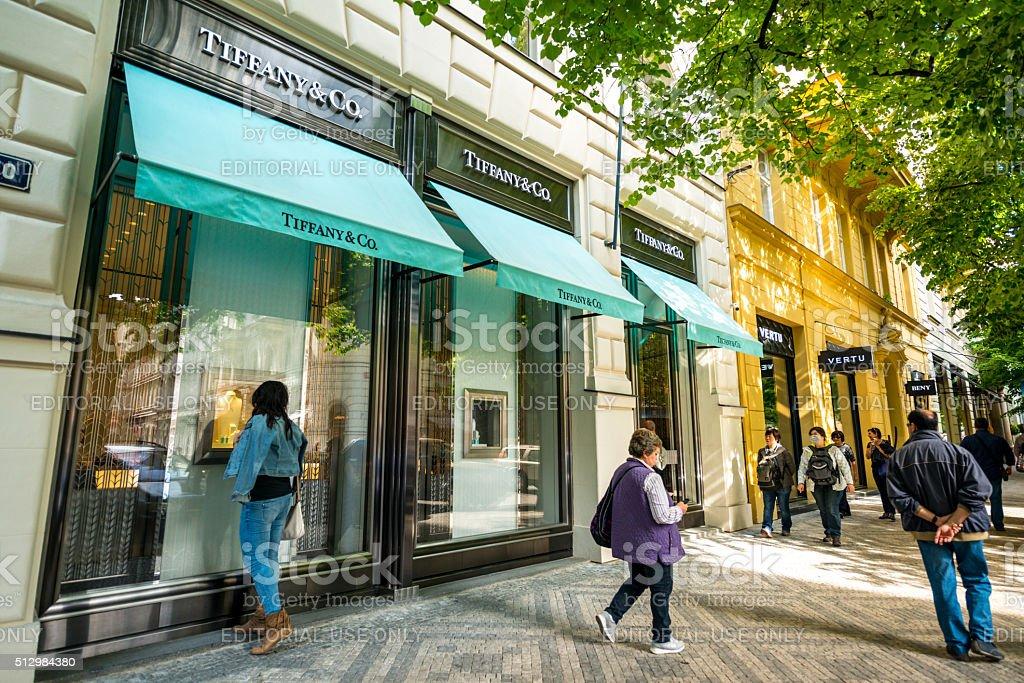 Tiffany & Co. Store in Prague stock photo