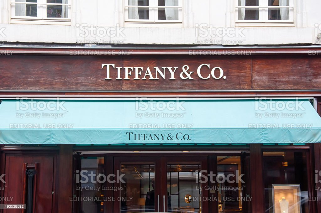 Tiffany & Co store in the P.C.Hooftstraat shopping street. Amsterdam. stock photo
