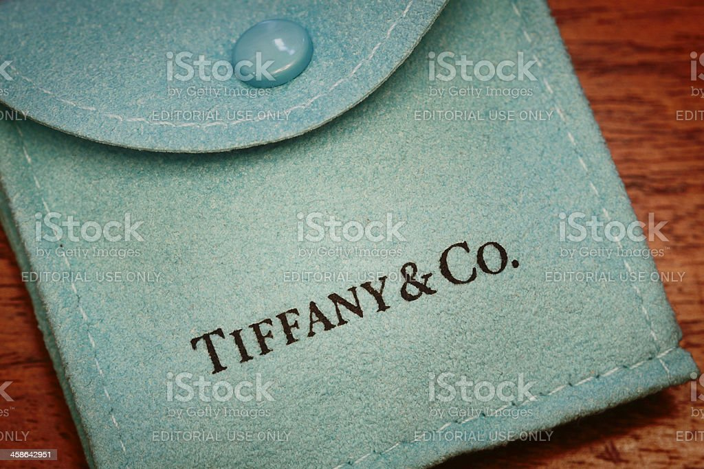 Tiffany & Co. Suede Pouch stock photo