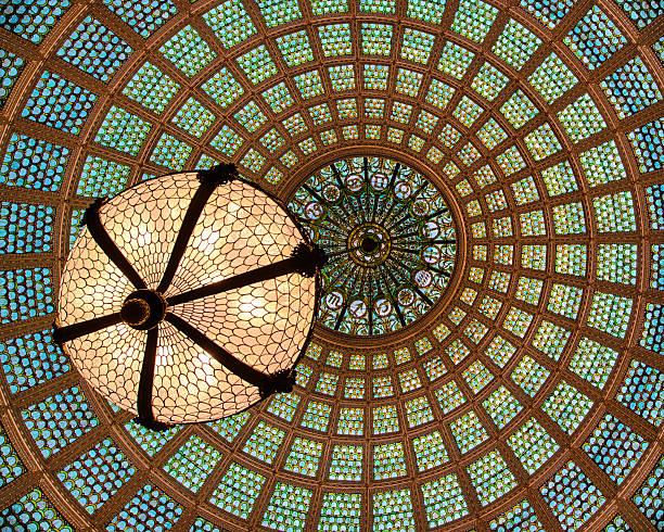 Tiffany glass dome ceiling stock photo
