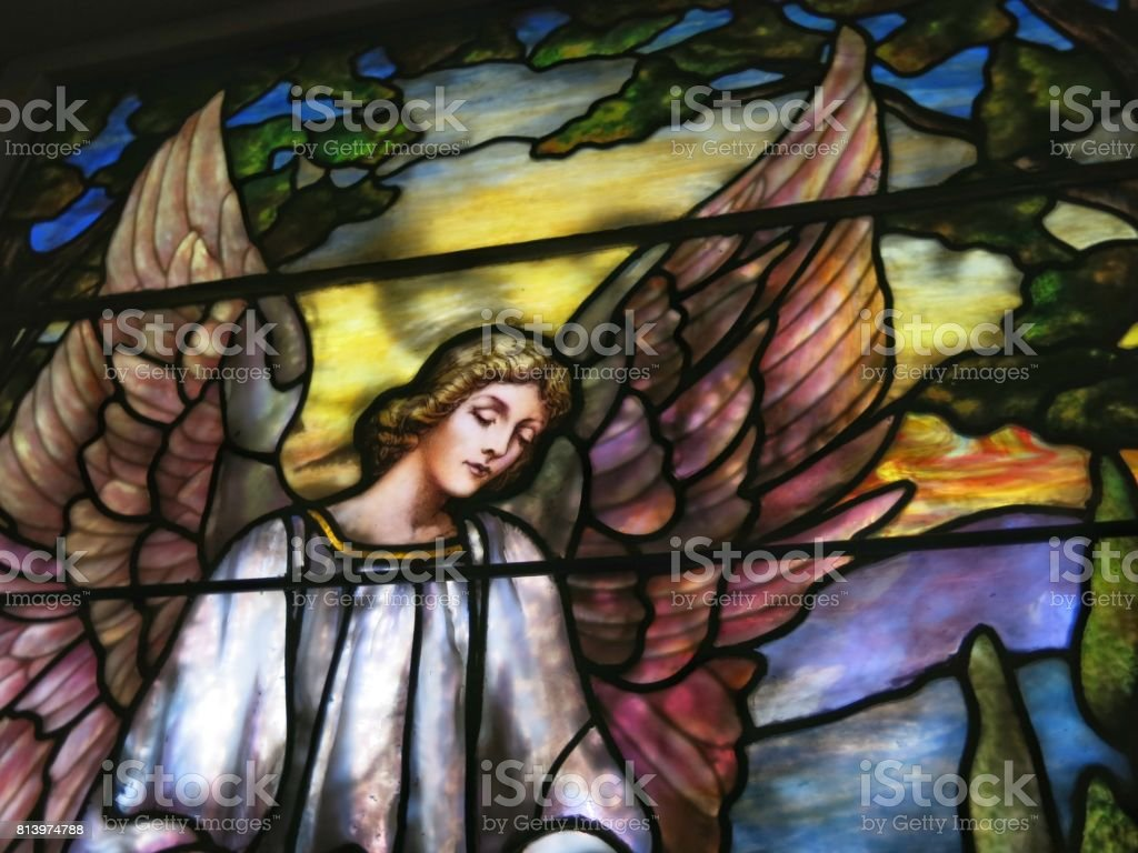 Tiffany Stained Glass Window, St. Paul's Church Virginia Historic Landmark - Royalty-free Angel Stock Photo