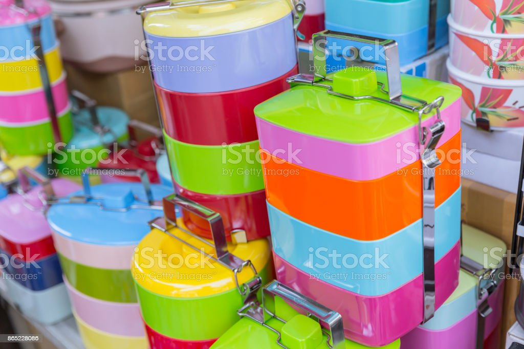 Tiffin box or food carrier stack colorful BPA plastic safety food containing materials sale in Thailand stock photo