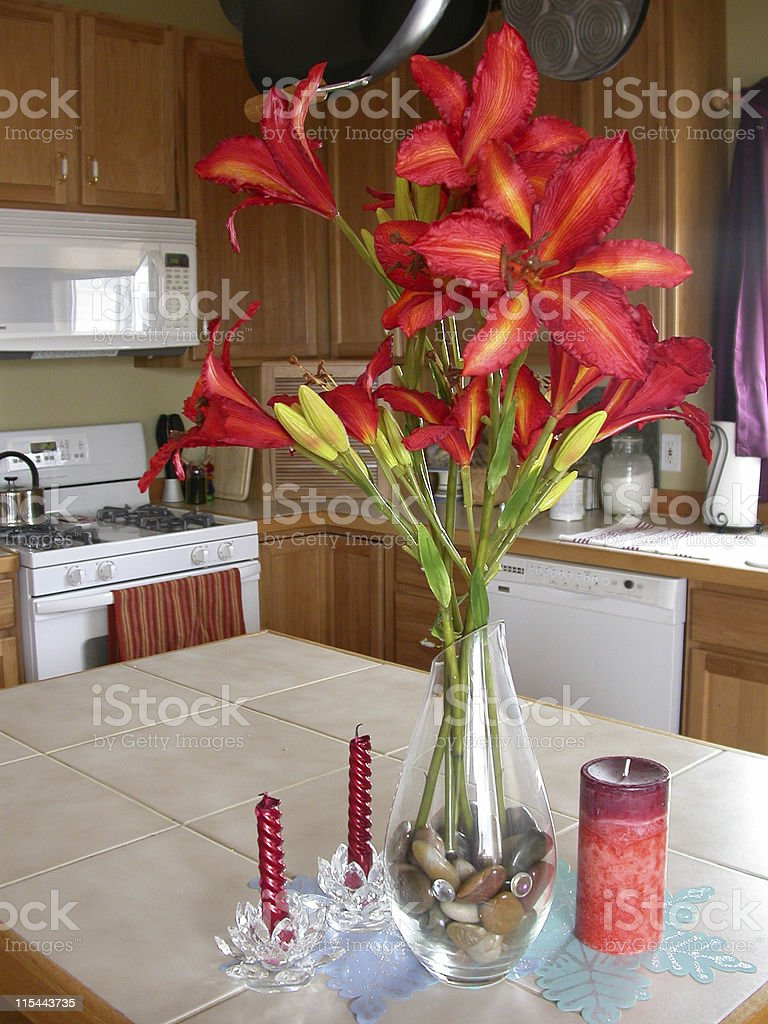 Tiger Lilies in Vase royalty-free stock photo