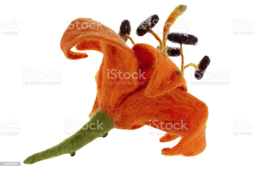 tiger lily flower image made from wool stock photo