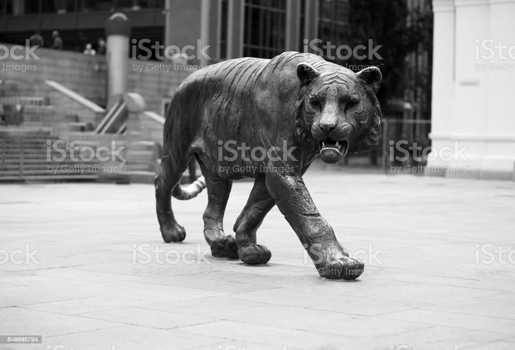 Tiger monument in Oslo backdrop stock photo