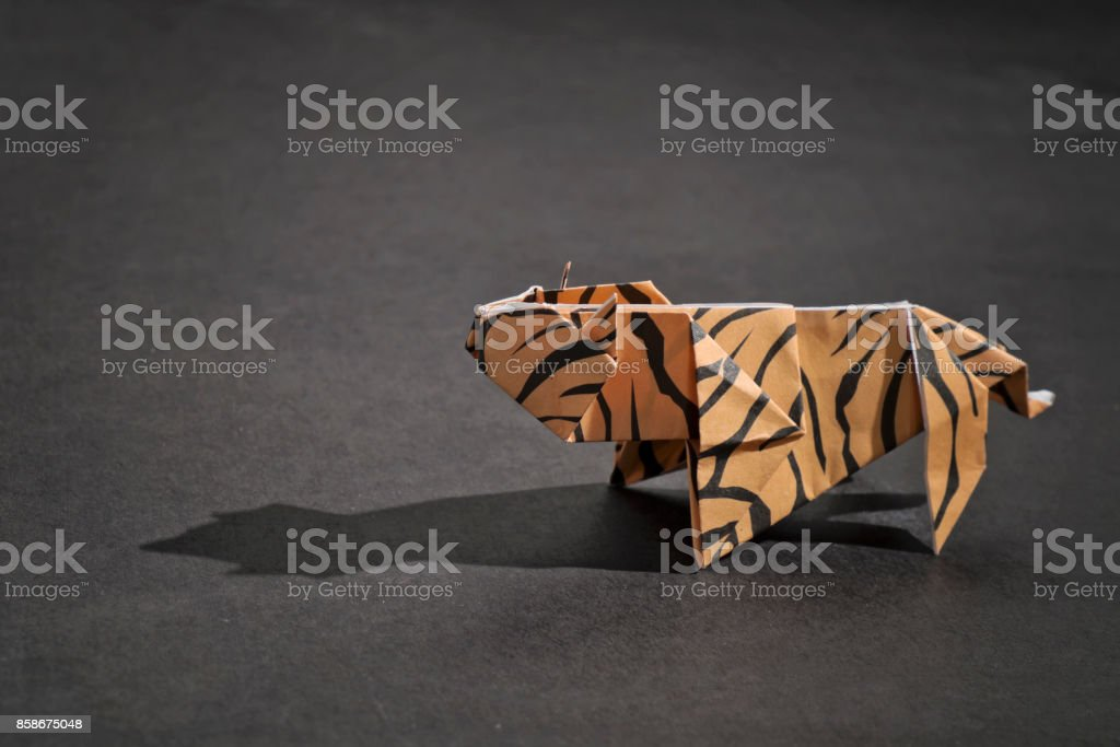 A tiger origami stock photo