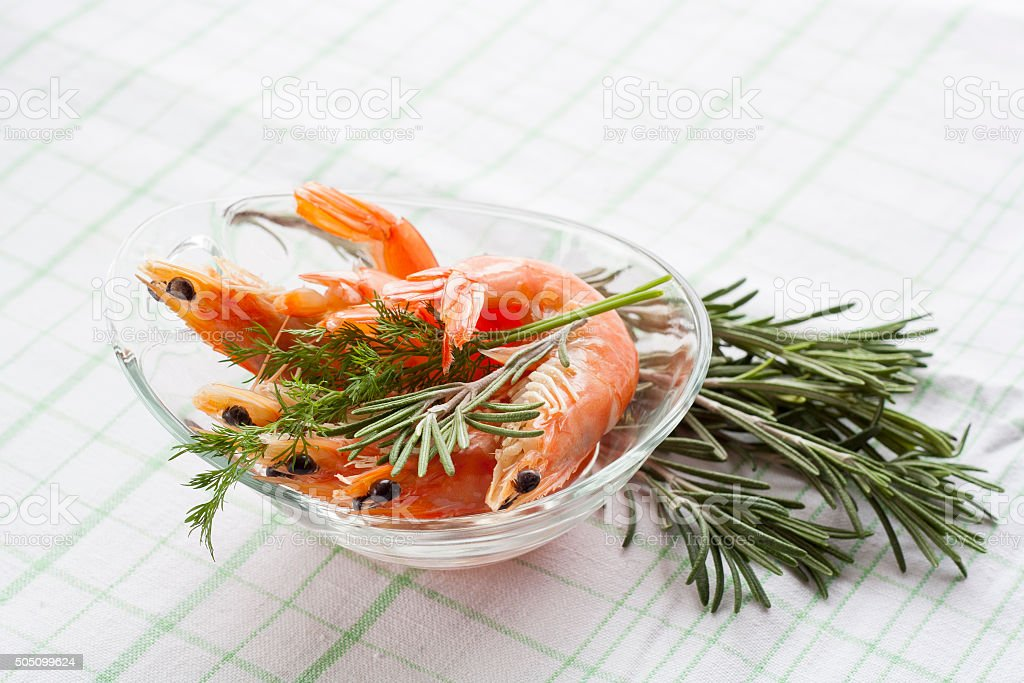 Tiger Prawn Shrimps with rosemary royalty-free stock photo