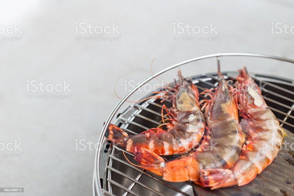 BBQ tiger prawns stock photo
