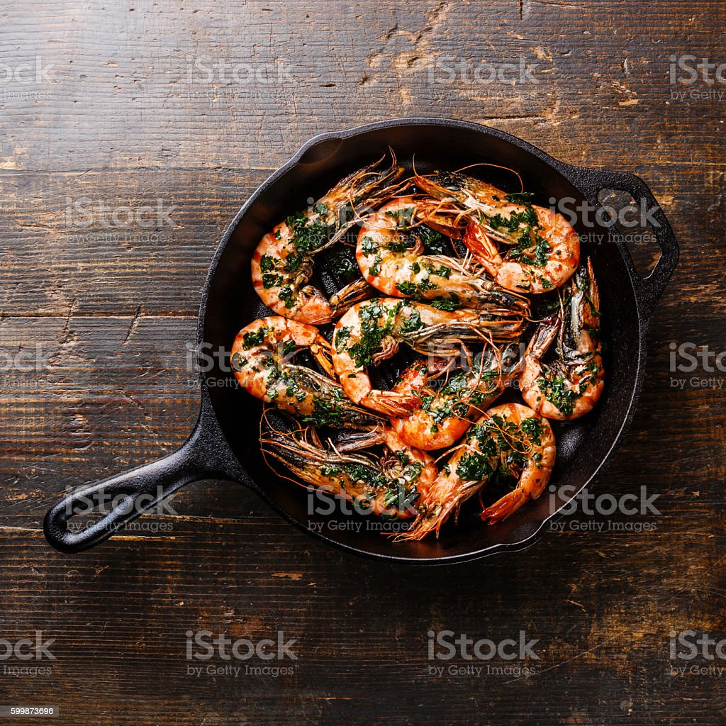 Tiger prawns roasted on frying pan stock photo