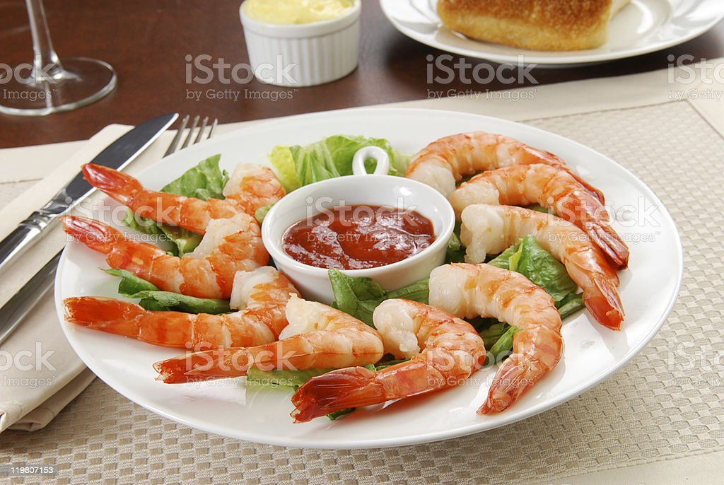 Tiger shrimp appetizer stock photo