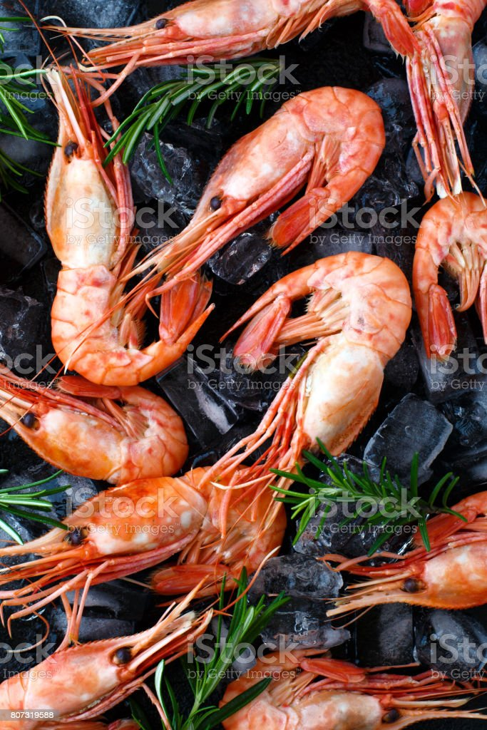 Tiger shrimps with rosemary on stone background. stock photo