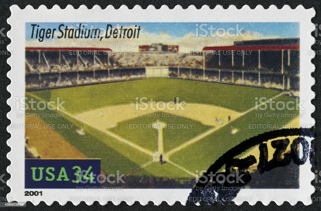 Tiger Stadium, Detroit Stamp royalty-free stock photo