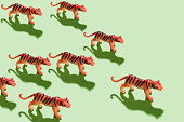 Tiger  toys with shadow on green background