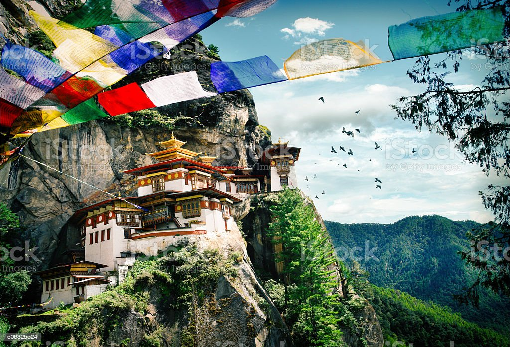 Tiger's Nest Monastery in Bhutan stock photo