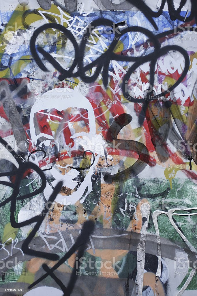 Graffiti scribble on wall spray painted grunge mess stock photo