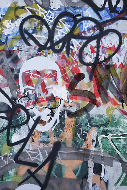 graffiti scribble on wall spray painted grunge mess - whiteway graffiti stock photos and pictures