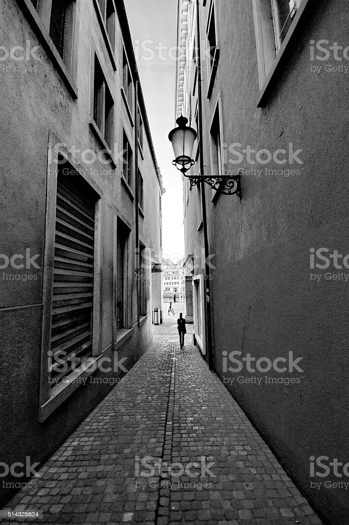 Tight street in the city stock photo