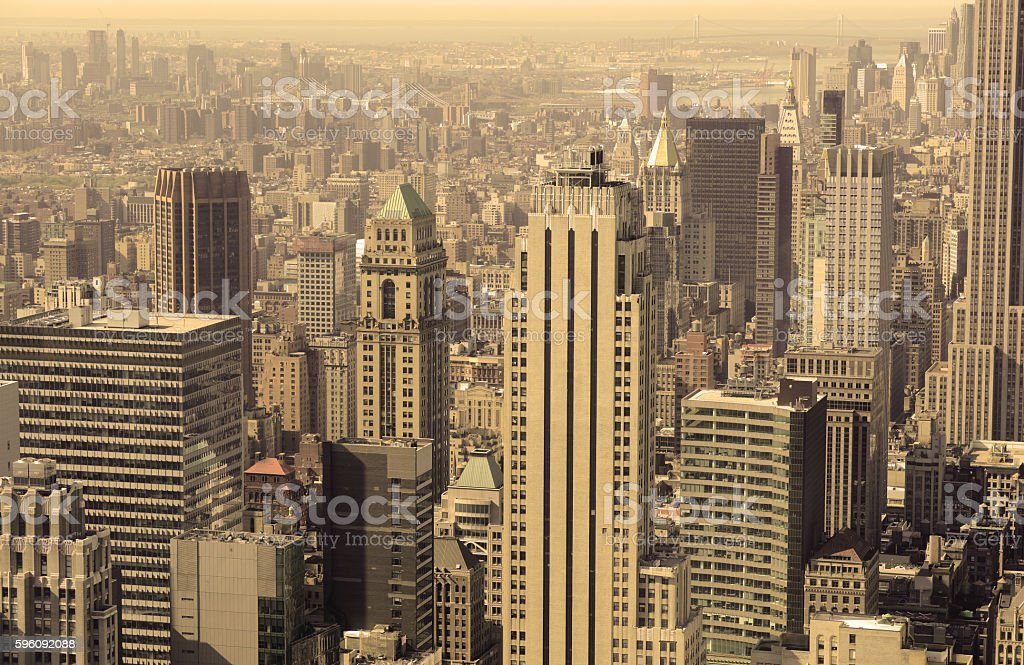 Tightly packed buildings and Manhattan skyline, New York City royalty-free stock photo