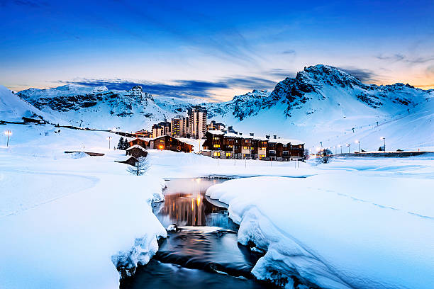 Tignes, alps, France Evening landscape and ski resort in French Alps,Tignes, Tarentaise, France ski resort stock pictures, royalty-free photos & images
