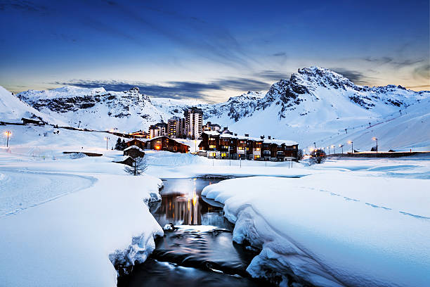 Tignes, alps, France Llandscape and ski resort in French Alps,Tignes, Le Clavet, Tarentaise, France ski resort stock pictures, royalty-free photos & images