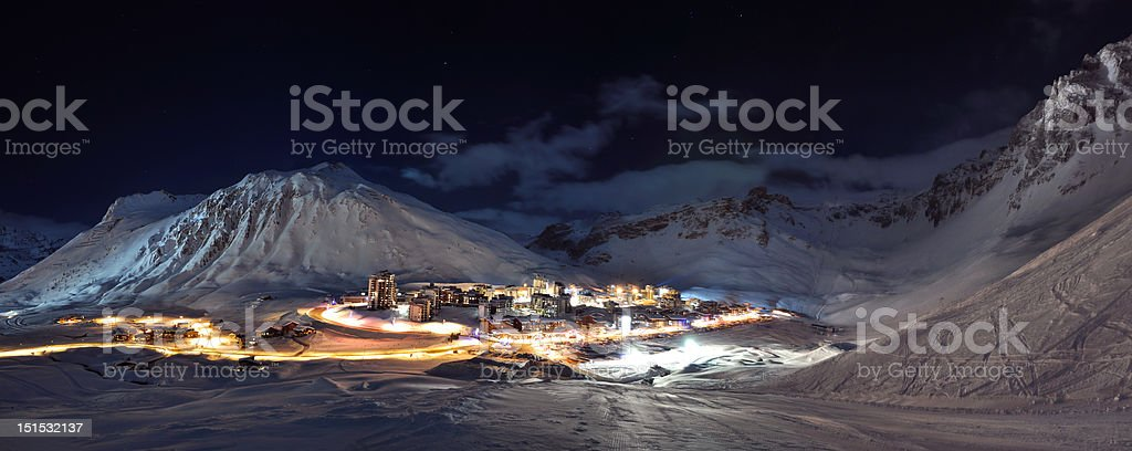 Tignes (Alps) at night panorama royalty-free stock photo