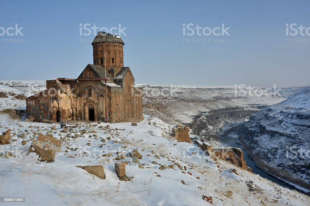 Tigran Honents church  in Ani among snowy nature stock photo